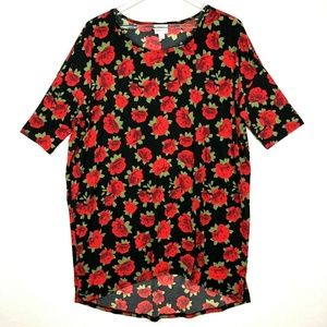 LuLaRoe Irma Red Roses Tunic